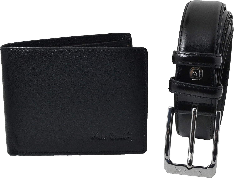 Pierre Cardin, Caja de regalo de madera para hombre, conjunto de cinturón acortable y cartera de cuero genuino