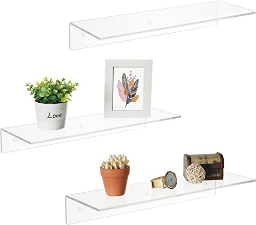 17 Inch Clear Acrylic Floating Shelves, Wall Mounted Modern Display Racks, Set of 3