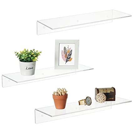 17 Inch Clear Acrylic Floating Shelves Wall Mounted Modern Display Racks Set Of 3
