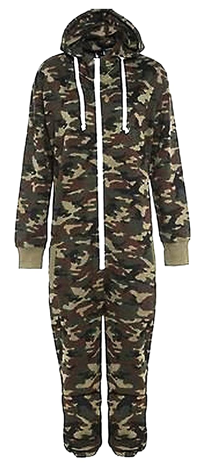 Kids Army Camo Print Onesie Hooded Jumpsuit All In One Boys Girls Fleece 7-14 Yr