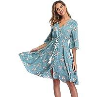 VintageClothing Women's Floral Sundresses Flowy Boho Summer Beach Dress Button Up