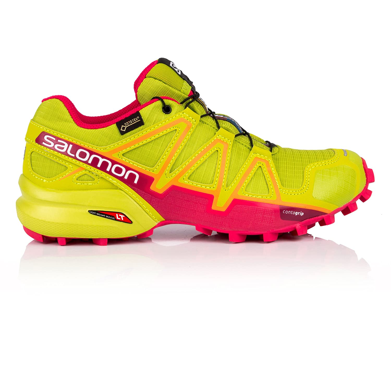 Salomon Women's Speedcross 4 GTX W Trail Running Shoe B077B9N242 10 B(M) US|Lime Green/Virtual Pink