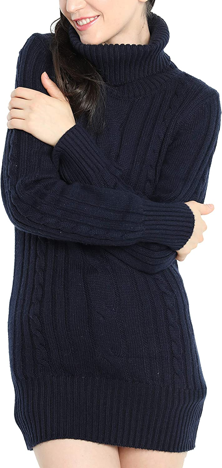 Liny Xin Women's Cashmere Knitted Turtleneck Long Sleeve Winter Wool Pullover Long Sweater Dresses Tops (L, Navy Blue)