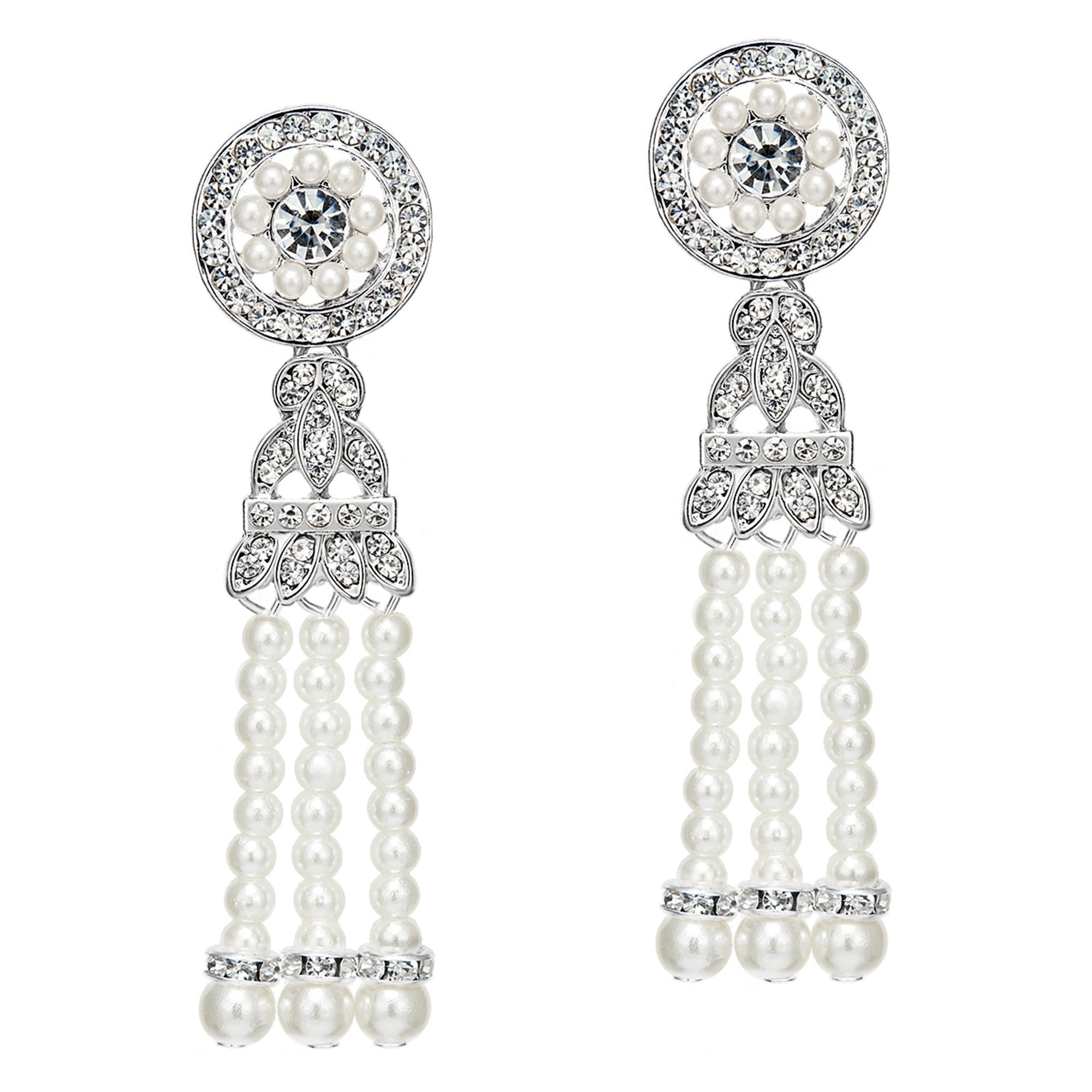 BABEYOND 1920s Flapper Art Deco Gatsby Earrings 20s Flapper Gatsby Accessories (Style 4-Silver)