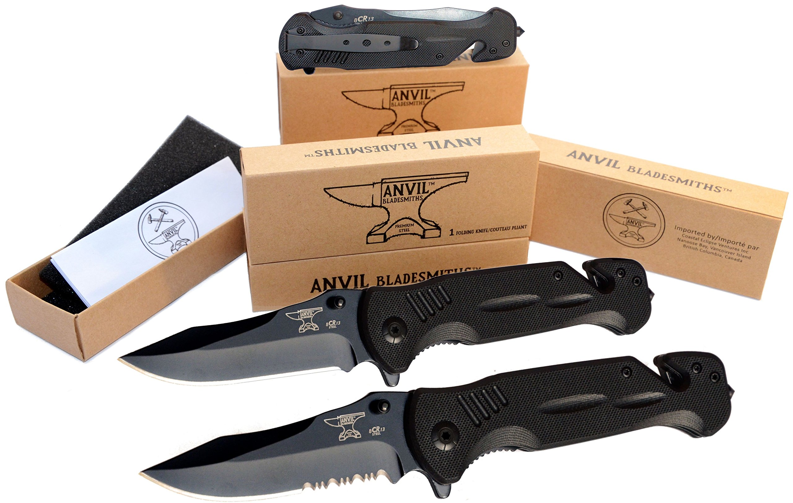 ANVIL BLADESMITHS - BULLSHARK 8CR13 - Folding Pocket Knife - Serrated Blade Black - Assisted Open by ANVIL BLADESMITHS (Image #5)