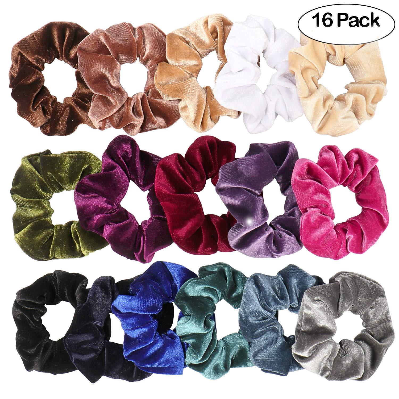 16 pacchi scricchioli di velluto legami di capelli bobble morbidi ed eleganti fasce elastiche per capelli fasce per le donne 16 colori accessori per capelli vamai