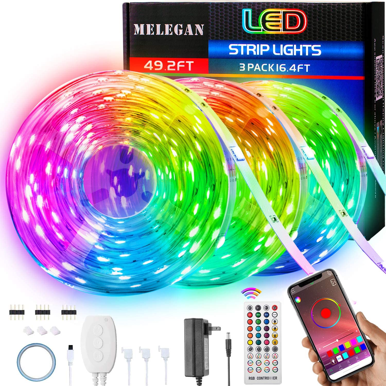 MELEGAN Led Strip Lights 49.2ft RGB Led Lights for Bedroom