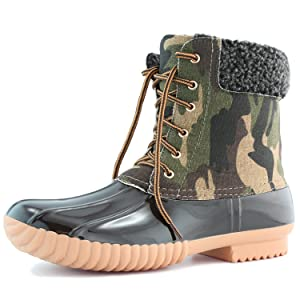 Women's DailyShoes Warm Snow Booties Lace Up Ankle High Cashmere Collar Duck Padded Mud Rubber Rain boots Camouflage 9 B(M) US