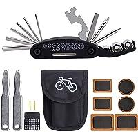 Canotagio Kit de Herramientas Multifuncional 16 en 1 para Bicicleta Bici Bike Tool. Incluye 16 Herramientas, Estuche de Tela y Parches de Reparación para Camara de llanta. 16 in 1 Bike Tire Repairing Kit.