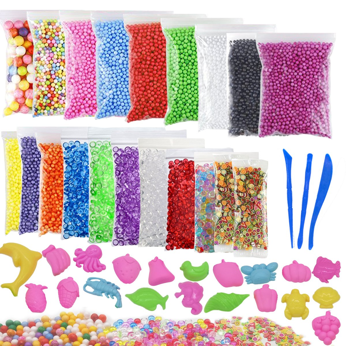 Slime Foam Beads, 43 Pack Slime Making Kit Including Styrofoam Foam Balls, Fishbowl Beads, Fruit Slices, Slime Tools and DIY Moulds for Slime Making Art DIY Craft Arisingdeals