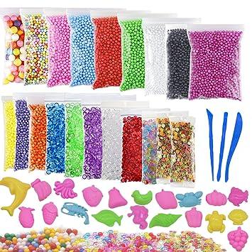 Slime perlas de espuma, 43 unidades Slime Kit para hacer incluso rebanadas perlas de espuma