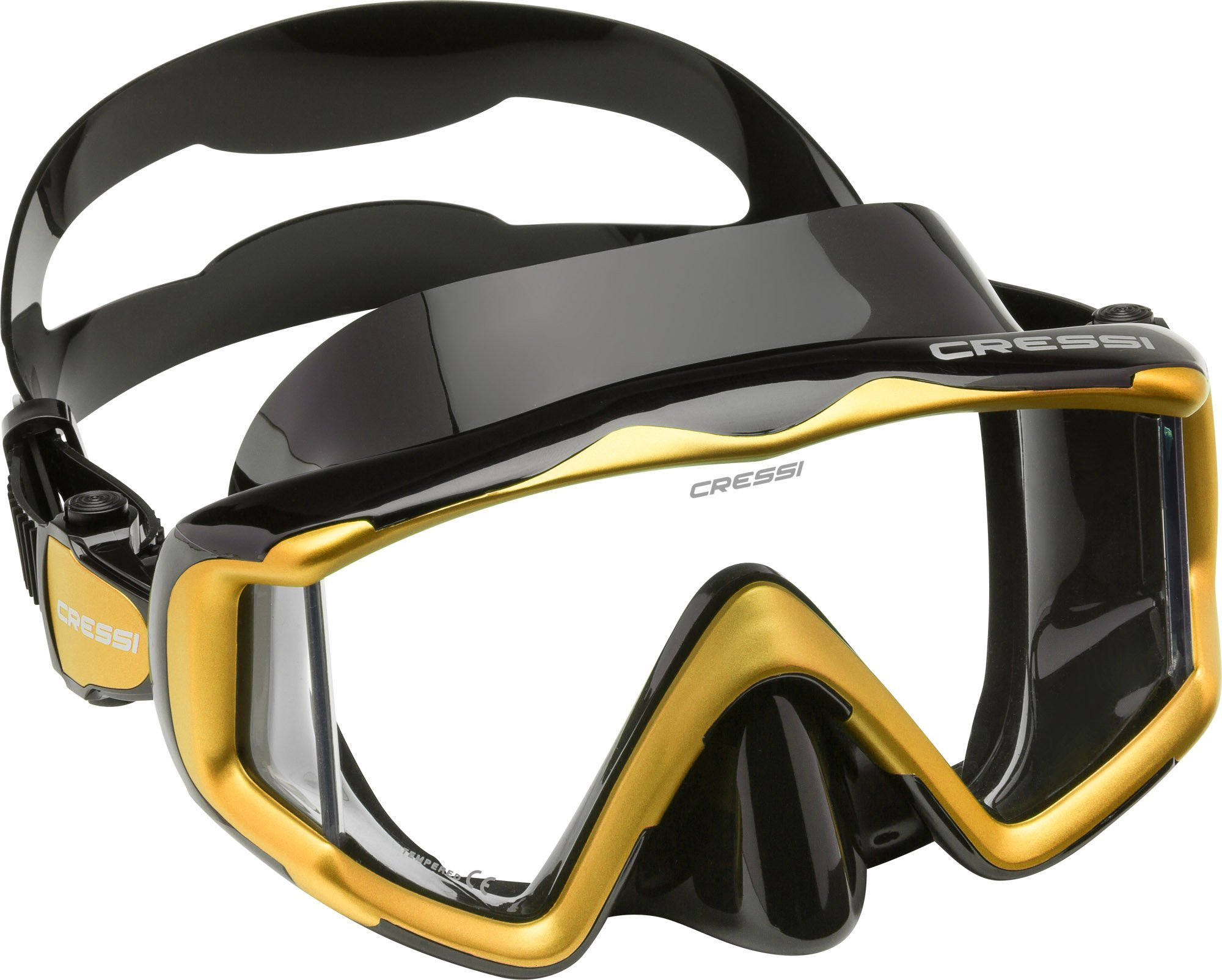 Cressi Liberty Triside Spe Diving Mask, Black/Black/Yellow