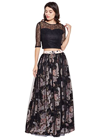 9a4c9e98d4dacd Martini Women Floral Georgette 2 Pc Long Skirt & Crop Top Dress (Black  Multi,