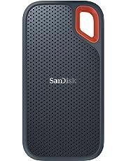 SanDisk Extreme Portable SSD externe Festplatte 500GB (SSD extern 2,5 Zoll, 550 MB/s Übertragungsraten, stoßfest, AES-Verschlüsselung,wasser- und staubfest) grau