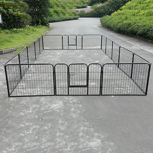 Homgrace Pet Dog Puppy Exercise Playpen Fence Door, Heavy Duty Metal Pet Pen Cat Outdoor Indoor Fence 16 Panels Black 1