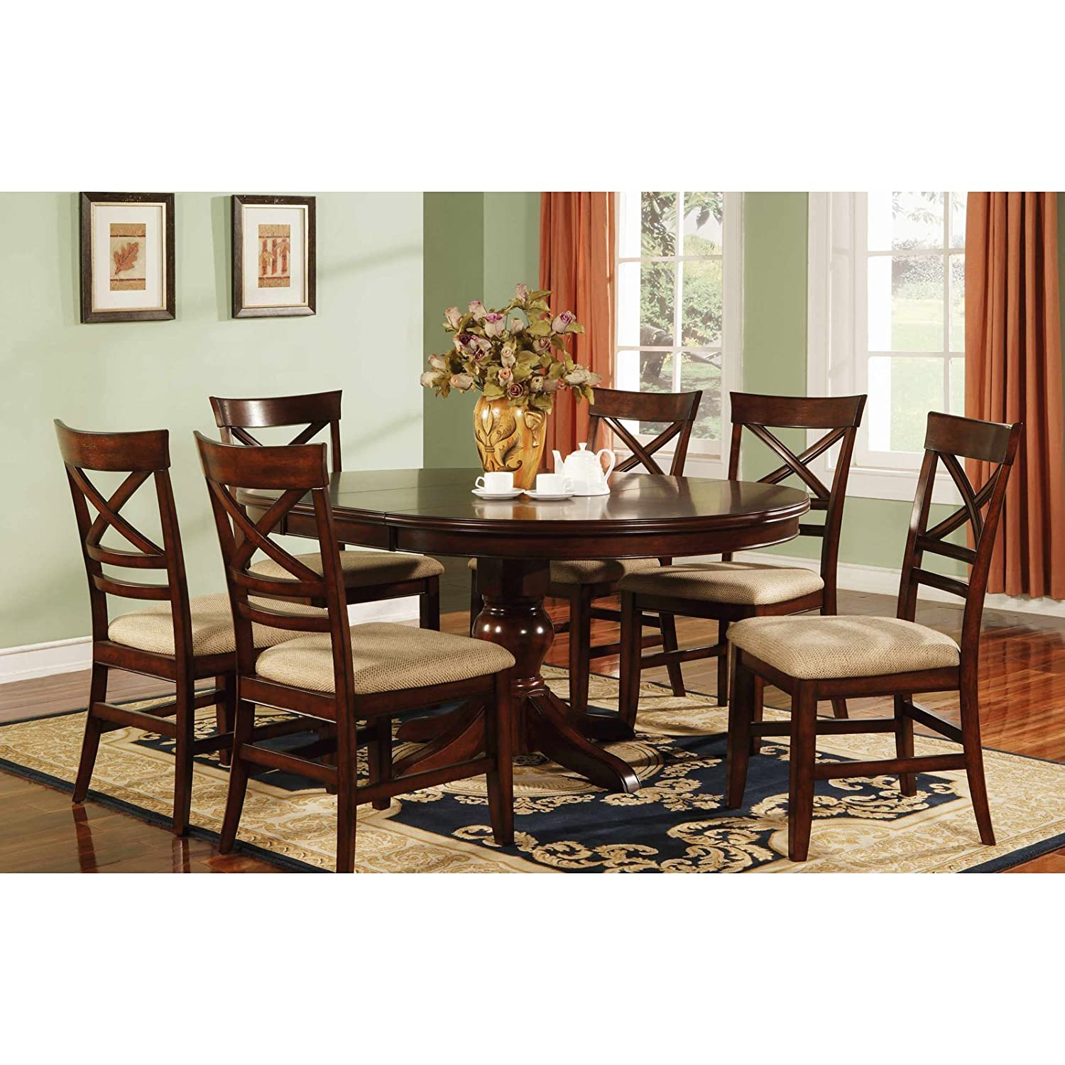 Amazon.com   Winners Only Topaz Pedestal Dining Table   Cherry   Tables