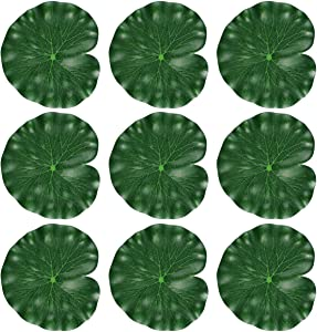 TINKSKY 18CM Floating Pool Decoration Water Decorative Aquarium Fish Pond Scenery Lotus Leaf,Pack of 10 (Green)