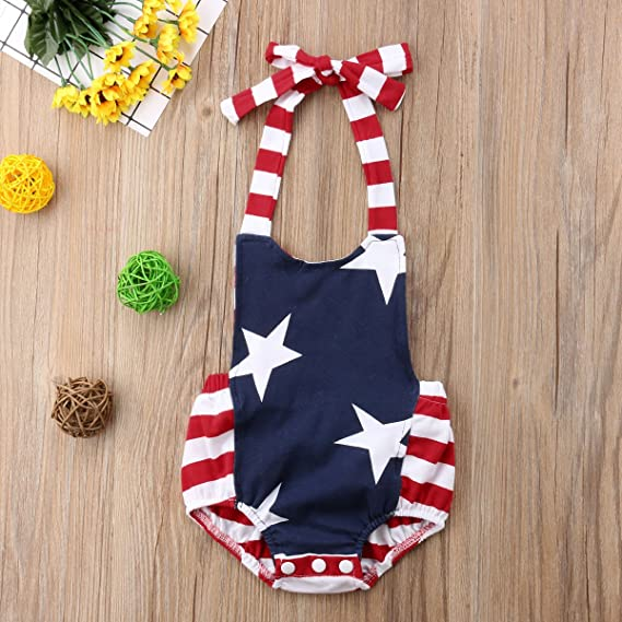 90b7473decb4 Amazon.com  Aunavey 4th of July Baby Girl Outfit Newborn Striped Star  Summer Jumpsuit Bodysuit Baby Romper  Clothing