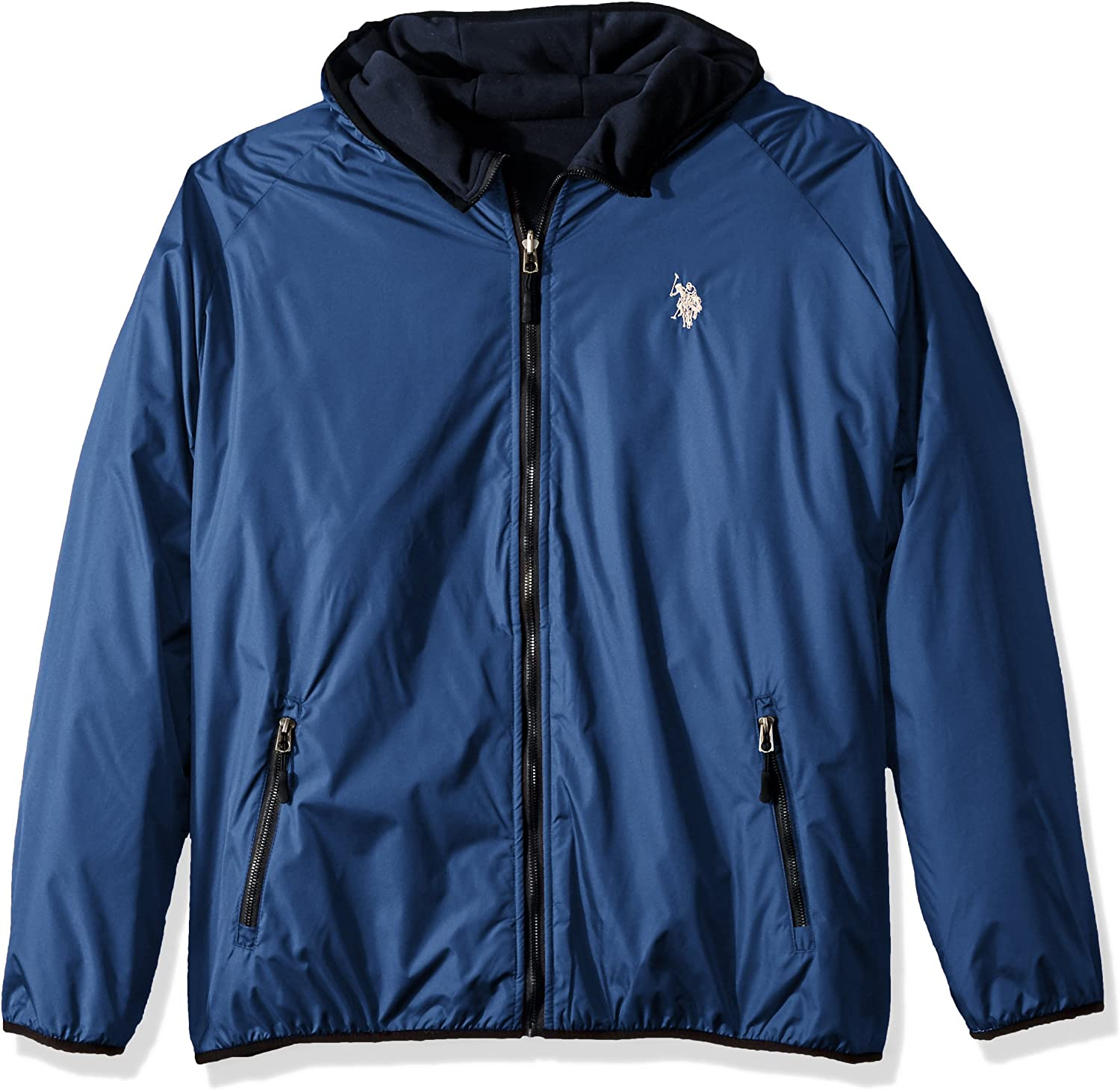 Shell Poly To Fleece Polo Jacket AssnMen's Us Hooded Reversible K1cTFJl