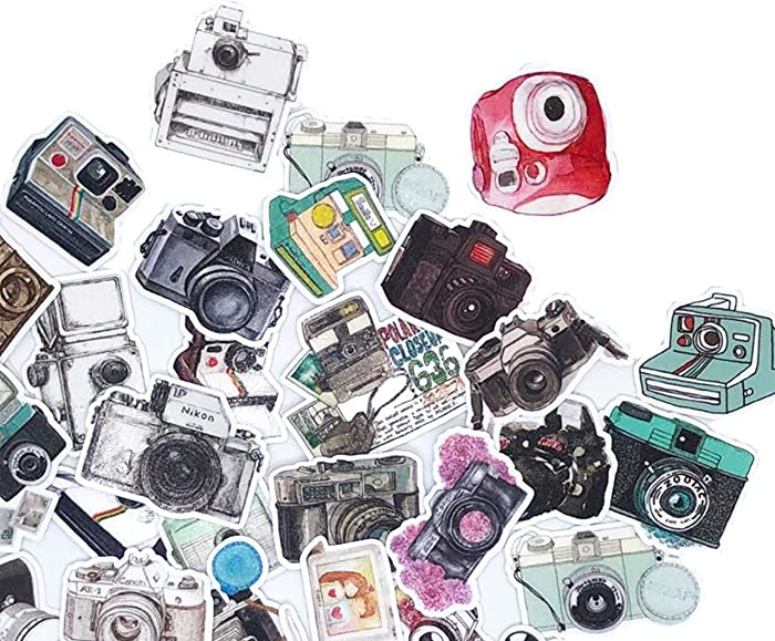 June Trendy Vintage Camera Decals for Laptop Chromebook DIY Craft/Tiny Stickers for Scrapbook Bullet Journal Planners/Cute Waterproof Stickers for Water Bottles Luggage Phone case(32 Pieces)