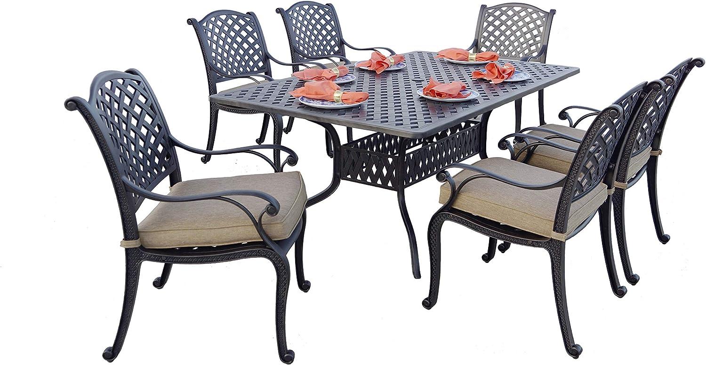 "Darlee Cast Aluminum Nassau 7-Piece 42'' x 72"" Rectangular Dining Set, Antique Bronze"