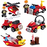 Firefighting Building Set, Newisland 8-in-1 Firemen Building Blocks with Fire Truck and more, 370+pcs Bricks Toys for Kids