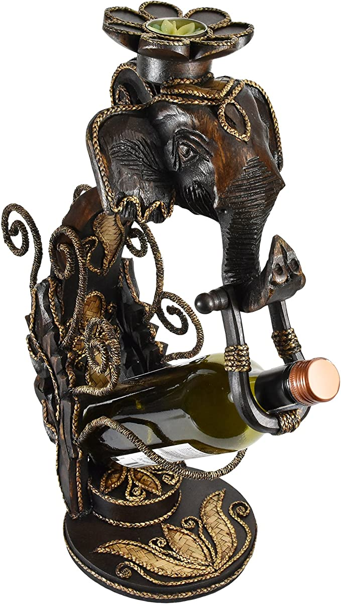 Flores corona elefante cabeza lluvia árbol de madera vino botella ...