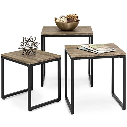 Best Choice Products 3-Piece Modern Stackable Nesting Coffee Accent End Table Living Room Furniture Lounge Set – Brown
