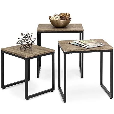 img buy Best Choice Products 3-Piece Modern Stackable Nesting Coffee Accent End Table Living Room Furniture Lounge Set - Brown