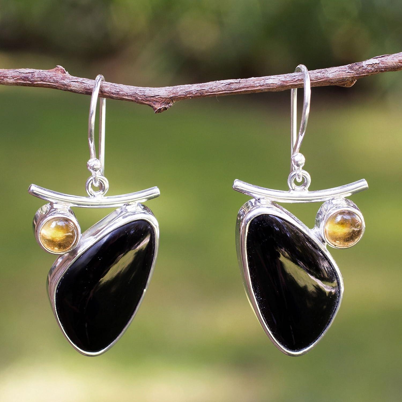 NOVICA Multi-Gem Obsidian .950 Sterling Silver Dangle Hook Earrings Dewdrop