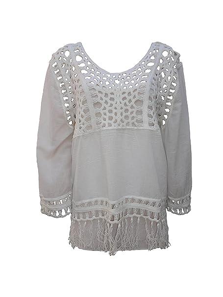 femiss Las mujeres sueltos Casual Sexy Encaje Camiseta Verano Tops blusa señoras Tropical ganchillo camiseta Top: Amazon.es: Ropa y accesorios