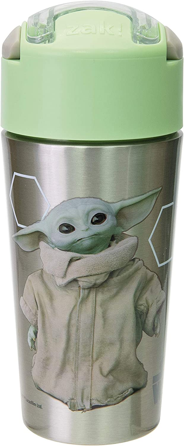 Zak Designs Star Wars The Mandalorian Durable Stainless Steel Straw Bottle with Push-Button Flip Lid Vacuum Insulation Keeps Drinks Cold, BPA Free, (1PC,12oz), The Child