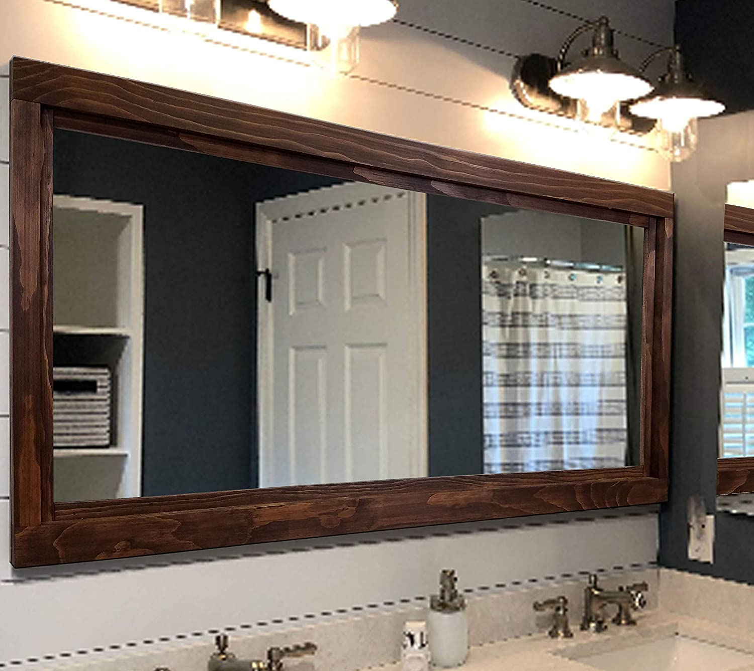 Amazon Com Farmhouse Framed Wall Mirror 20 Stain Colors Vanity Mirror Bathroom Mirror Mirror For Wall Mirror Over Double Sink Vanity Master Bathroom Mirror Wood Framed Mirror Bathroom Decor Handmade