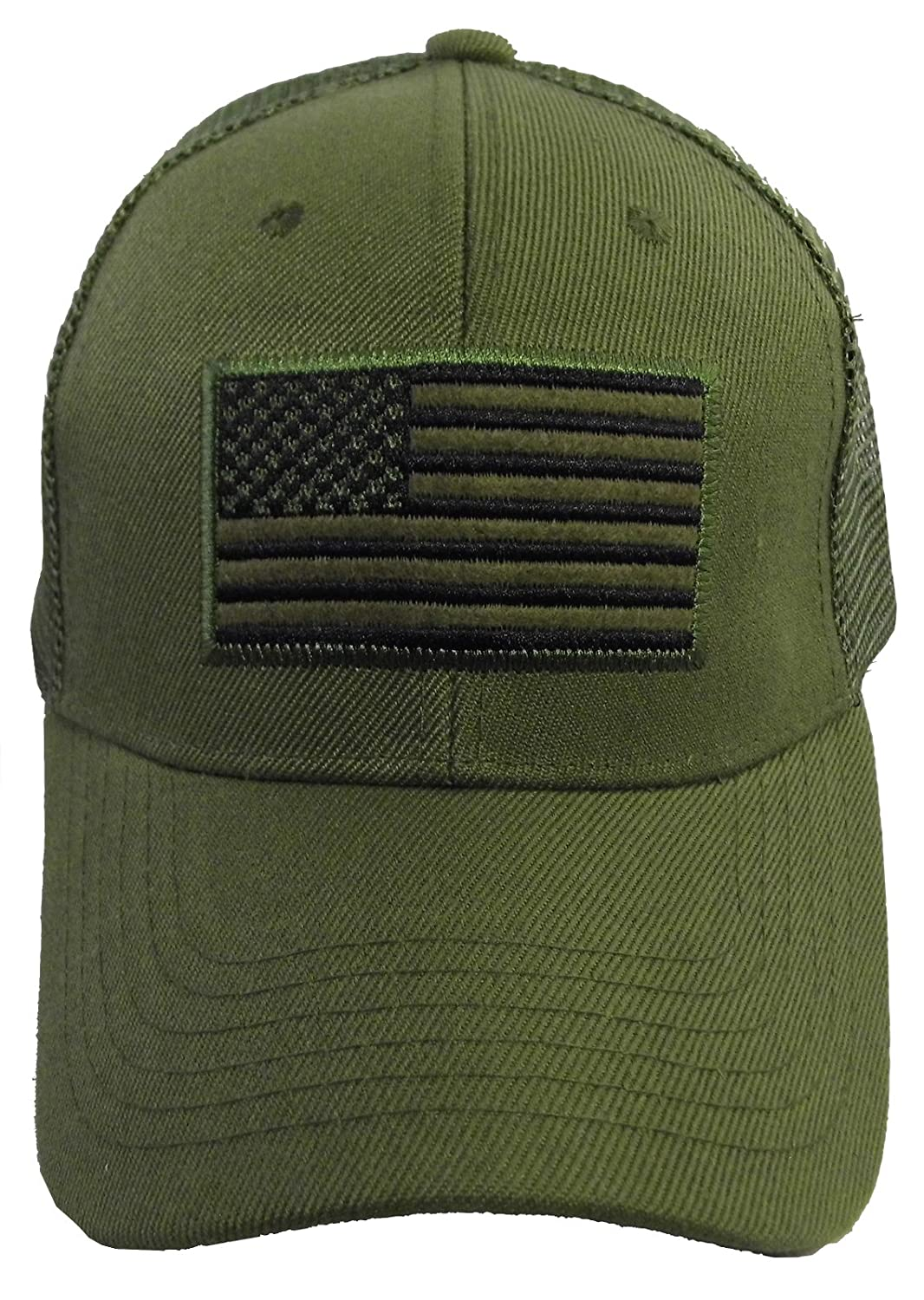 US American Flag Patch Tactical Style Mesh Trucker Baseball Cap Hat (One  Size 75a5371b7a2