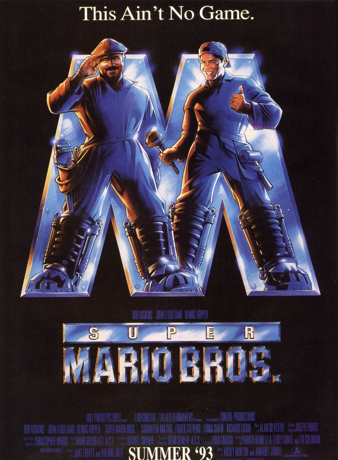 Super Mario Bros Bob Hoskins John Leguizamo Dennis Hopper Original Double Sided Rolled 27x40 Movie Poster 1993