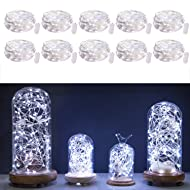 Pack of 10pcs LED Moon Fairy Lights 20 Pure White Micro Starry LEDs on 7 Feet Copper Silver Extra Thin Copper Wire, Cr2032 Batteries Included
