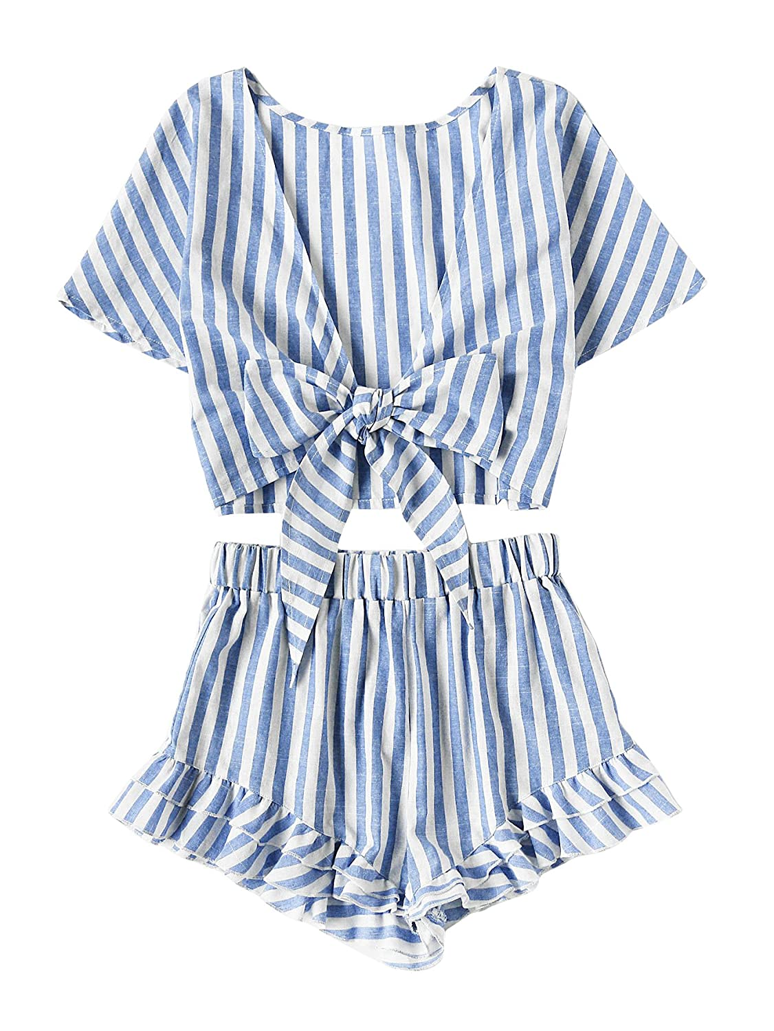 bluee 1 SweatyRocks Women's 2 Piece Outfit Striped V Neck Knot Front Crop Top with Shorts