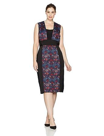 57233702243 RACHEL Rachel Roy Women s Plus Size Mixed Media Midi Dress at Amazon  Women s Clothing store