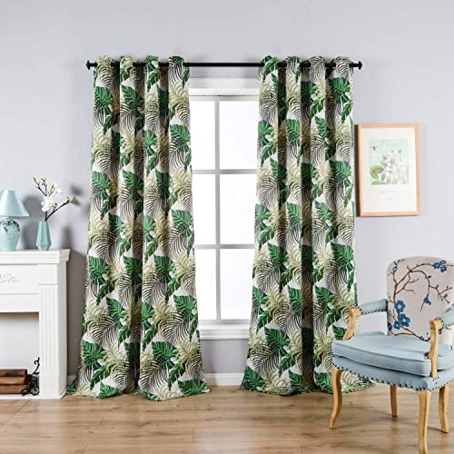 sgofais Fresh Country Style Printed Design Room Darkening Blackout Curtain Panels Grommet Top, 2 Panels W52 x L84 inch