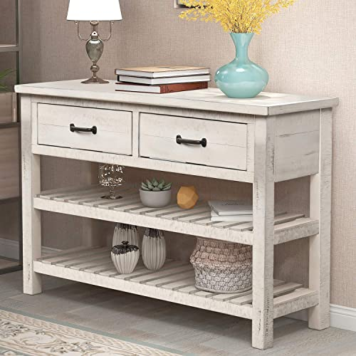 P PURLOVE Console Table Sofa Table with Drawers Console Tables for Entryway with Drawers and 2 Tiers Wood Shelf Antique White