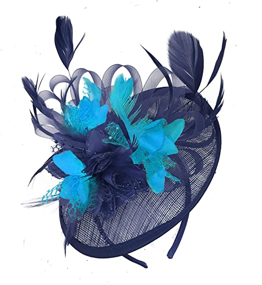 d7ac686d Caprilite Navy Blue and Aqua Sinamay Disc Saucer Fascinator Hat for Women  Weddings Headband: Amazon.co.uk: Clothing