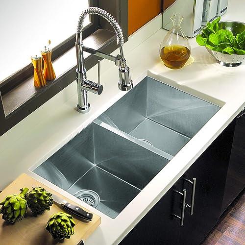 Houzer CTD-3350 Contempo Series Undermount Stainless Steel 50 50 Double Bowl Kitchen Sink