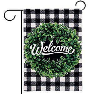 Monavenir Welcome Garden Flag 12x18 Prime Verticle Double Sided Black and White Buffulo Check Plaid Boxwood Wreath Summer Farmhouse Small Garden Flags Mini Yard Flag for Outside Decorations