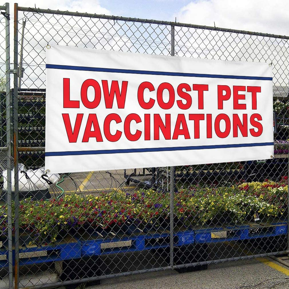 Vinyl Banner Multiple Sizes Low Cost Vaccinations Red Business Outdoor Weatherproof Industrial Yard Signs 10 Grommets 60x144Inches