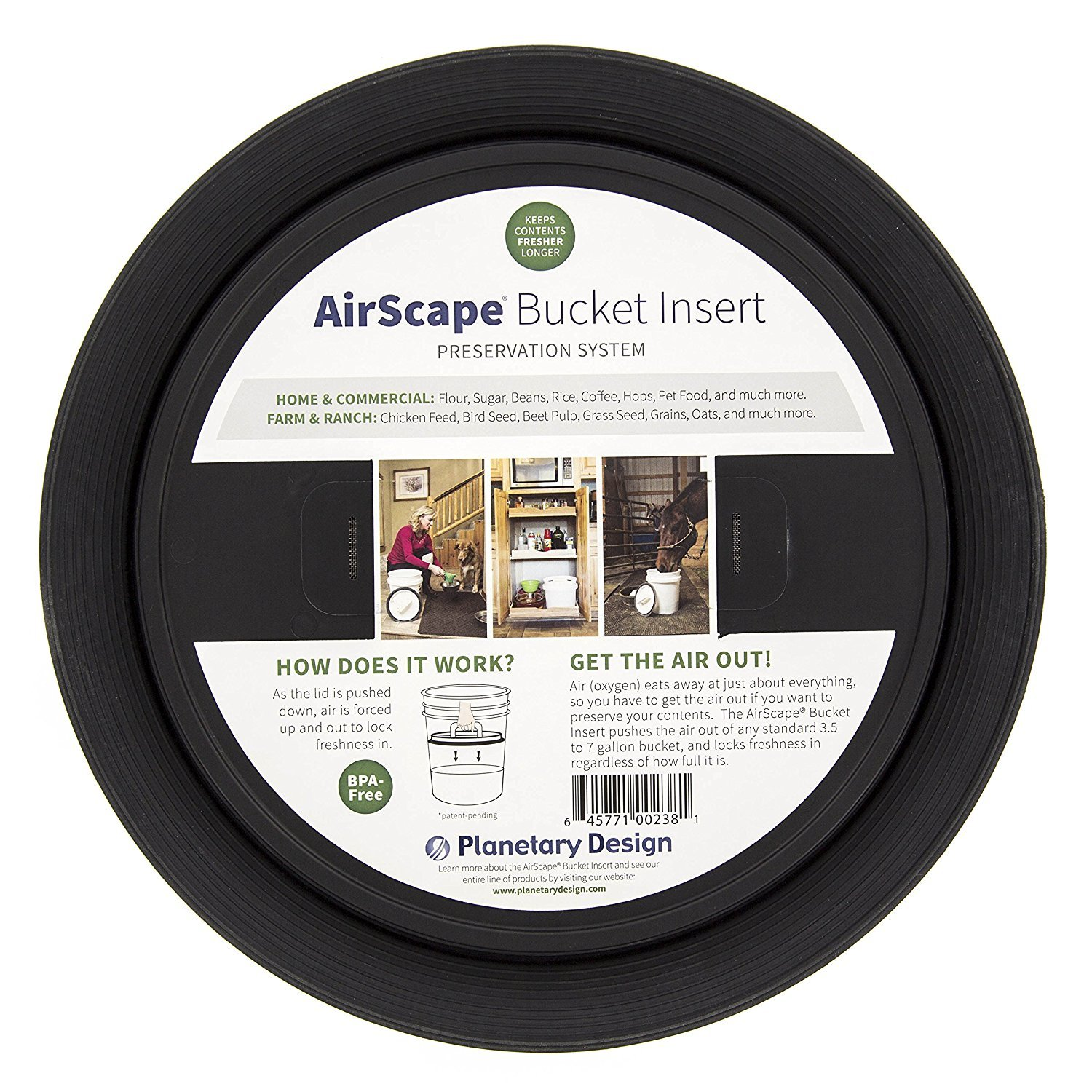 Planetary Design AirScape Bucket Insert Lid, 3 Pack - Airtight Lids Preserve Food Freshness - Fits Most Bucket Sizes!
