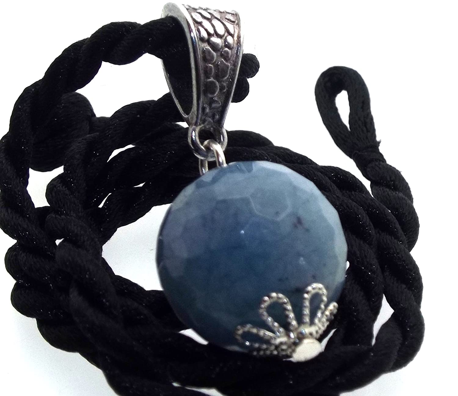 Blue Chalcedony 14mm Faceted Sphere Pendant