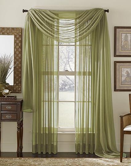 Top Amazon.com: 3 Piece Sage Sheer Voile Curtain Panel Set: 2 Sage  JZ72