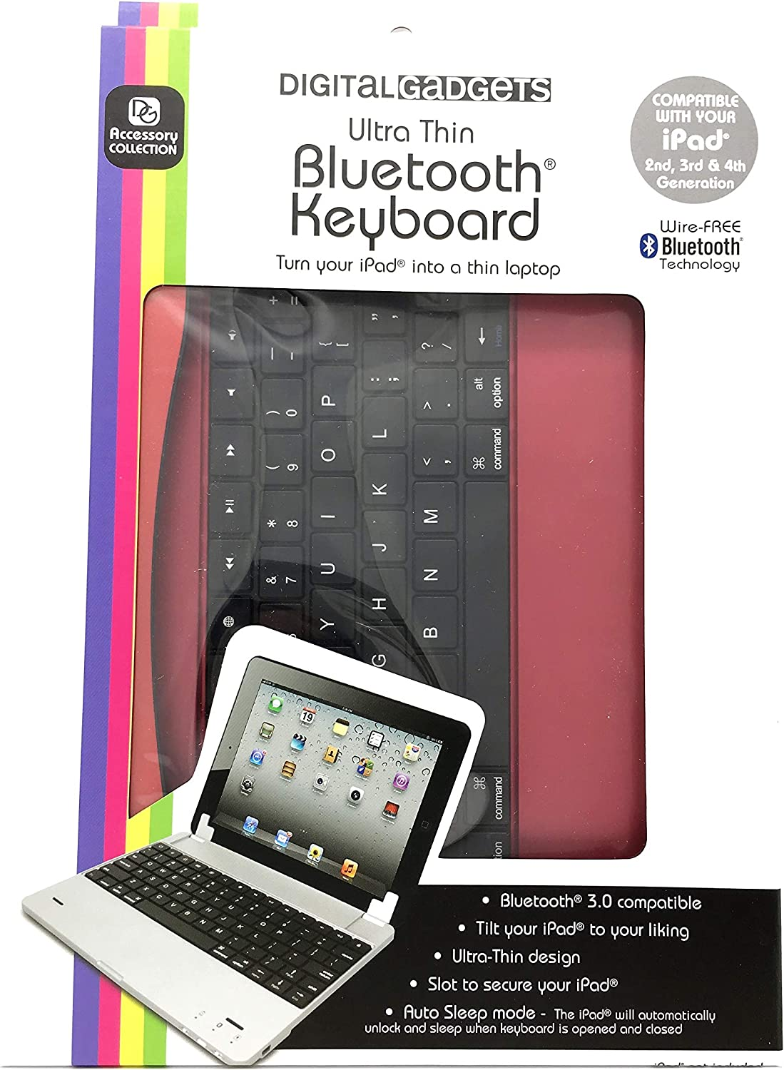 Digital Gadgets Ultra Thin Bluetooth Keyboard Red for Ipad and Tablets and Air