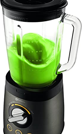 Philips HR2196/08 Avance Collection-Batidora, 900 W, jarra de cristal de 2 litros, con espátula, función para picar hielo, 25, Vidrio, Titanio: Amazon.es: Hogar