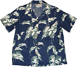 product image for Paradise Found Women's Palm Tree Leaf Aloha Shirt, Navy Blue, S
